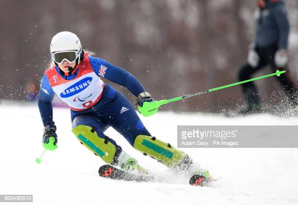 Great Britain's Kelly Gallagher during her second run in the Women's Slalom Visually Impaired at the Jeongseon Alpine Centre during day nine of the...