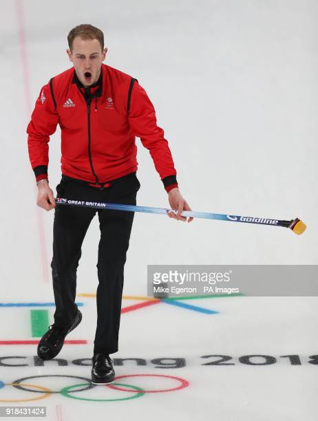 Great Britain's Kyle Smith in their match with Japan in the Round Robin Session 3 Men's Curling during day six of the PyeongChang 2018 Winter Olympic...