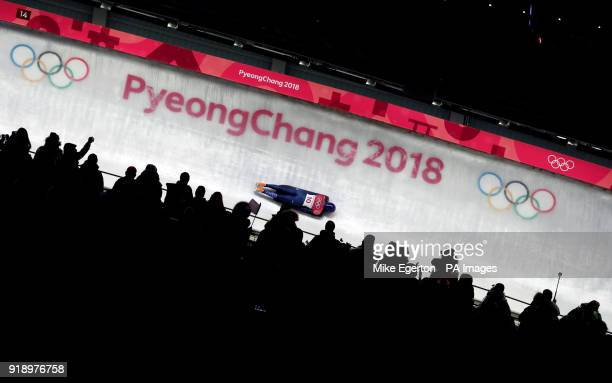 Great Britain's Laura Deas competes in the Women's Skeleton at the Olympic Sliding Centre during day seven of the PyeongChang 2018 Winter Olympic...