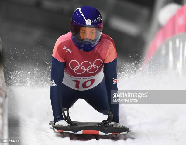 Great Britain's Laura Deas competes in the women's skeleton heat 3 run during the Pyeongchang 2018 Winter Olympic Games at the Olympic Sliding Centre...
