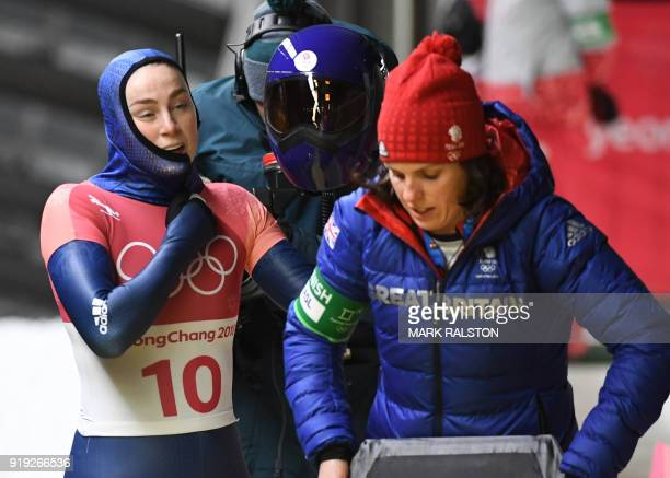 Great Britain's Laura Deas reacts after finishing in the women's skeleton heat 4 final run during the Pyeongchang 2018 Winter Olympic Games at the...