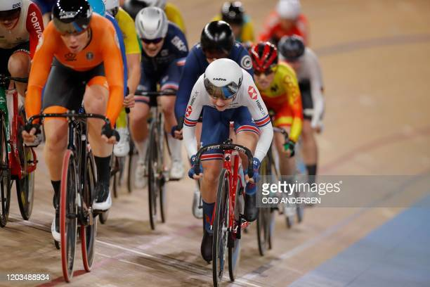 Great Britain's Laura Kenny and Netherlands' Kirsten Wild compete during the women's 10 km scratch race final at the UCI track cycling World...