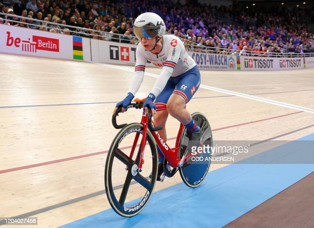 Great Britain's Laura Kenny competes in the women's elimination race and points race at the UCI track cycling World Championship at the velodrome in...