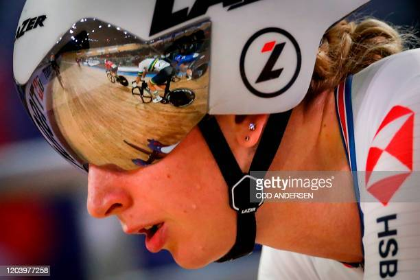 Great Britain's Laura Kenny competes in the Women's Omnium Tempo Race during the UCI track cycling World Championship at the velodrome in Berlin on...