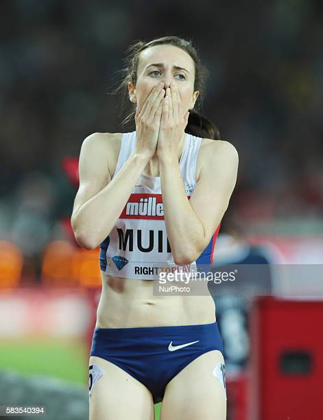 Great Britain's Laura Muir after winning the Women's 1500m and breaks the British National Record during IAAF Diamond League Muller London...