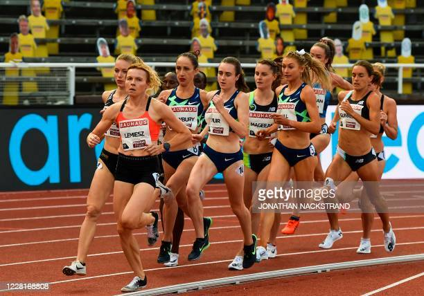 Great Britain's Laura Muir competes in the women 1500m event during the Diamond League Athletics Meeting at Stockholm stadium on August 23, 2020.