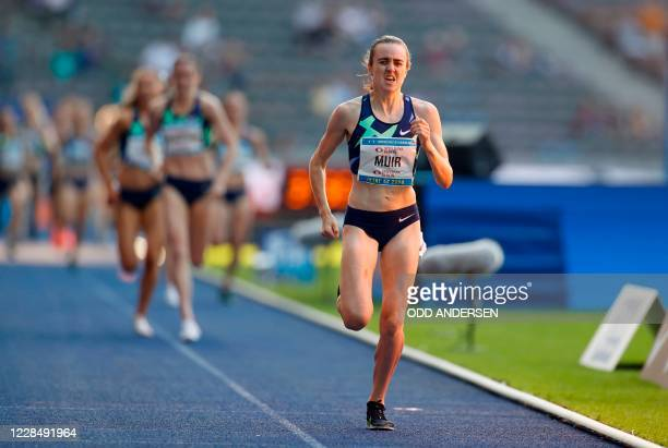 Great Britain's Laura Muir competes to win the women's 1500m event of the 79th ISTAF international athletics meeting on September 13, 2020 at the...