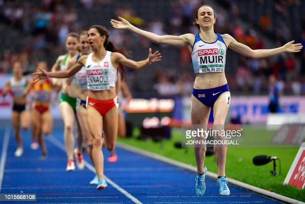 Great Britain's Laura Muir wins the women's 1500m final race during the European Athletics Championships at the Olympic stadium in Berlin on August...