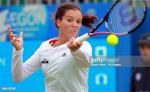 Great Britain's Laura Robson in action against USA's Grace Min during day two of the AEGON Championships at Edgbaston Priory Club Birmingham