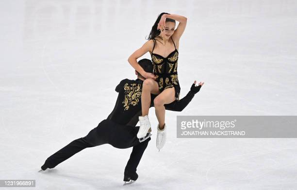 Great Britain's Lilah Fear and Lewis Gibson perform during the free ice dance skating event at the ISU World Figure Skating Championships in...