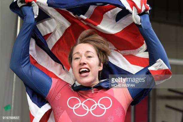 TOPSHOT Great Britain's Lizzy Yarnold celebrates the gold medal in the women's skeleton heat 4 final run during the Pyeongchang 2018 Winter Olympic...