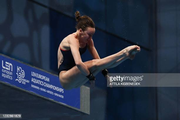Great Britain's Lois Toulson competes in the preliminary for the Women's 10m Platform Diving event during the LEN European Aquatics Championships at...