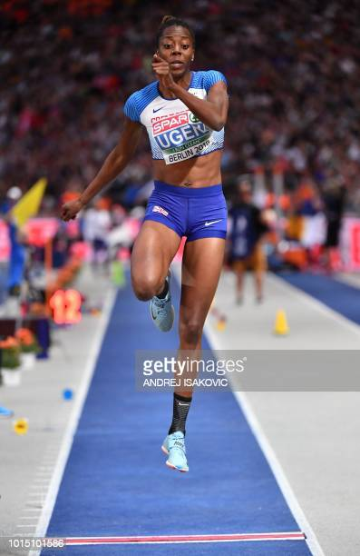 Great Britain's Lorraine Ugen competes in the women's Long Jump final during the European Athletics Championships at the Olympic stadium in Berlin on...