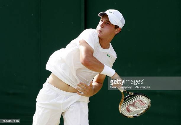 Great Britain's Luke Bambridge in action against Australia's Andrew Whittington in the first round of the Boy's Singles