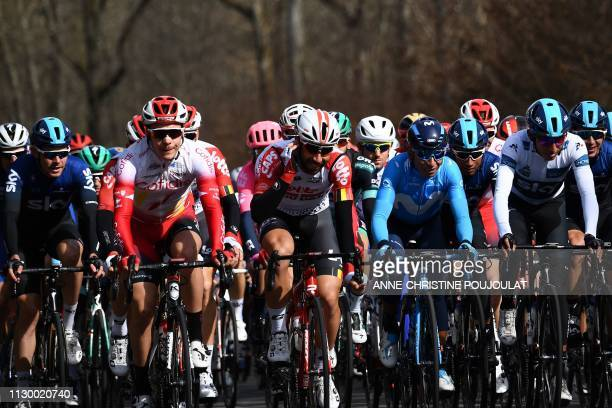 Great Britain's Luke Rowe, France's Mathias Le Turnier, Belgium's Thomas De Gendt, Colombia's Nairo Quintana and Colombia's Egan Bernal wearing the...