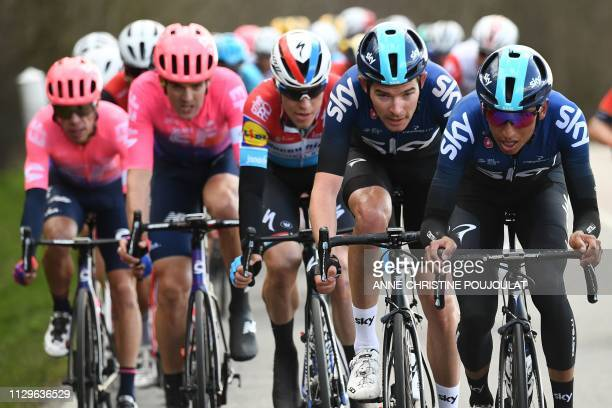 Great Britain's Luke Rowe rides with Colombia's Egan Bernal during the 1385km 1st stage of the 77th ParisNice cycling race between SaintGermainenLaye...