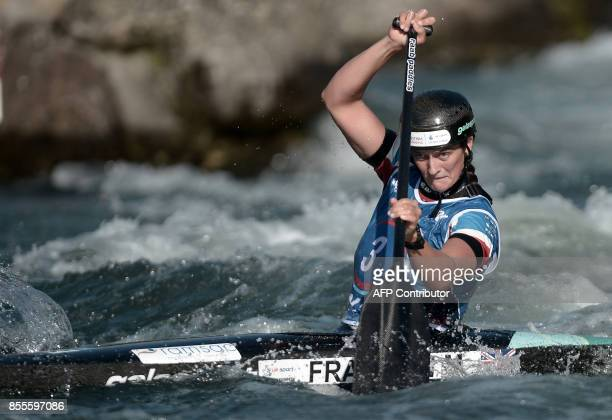 Great Britain's Mallory Franklin competes in the Canoe Single Women Final event of the World CanoeKayaking World Championships on September 29 2017...