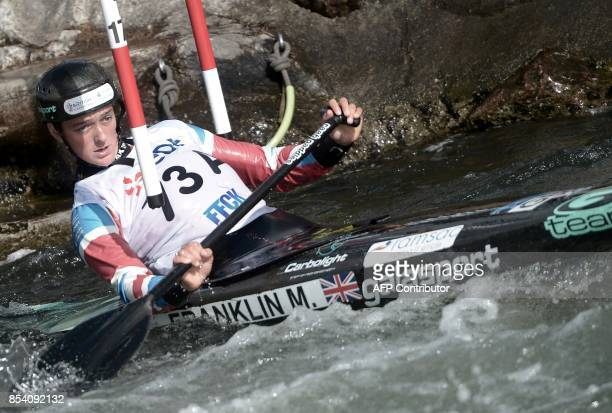 Great Britain's Mallory Franklin competes in the women's team event in the Canoe Single category on September 26 2017 in Pau during the ICF Canoe...