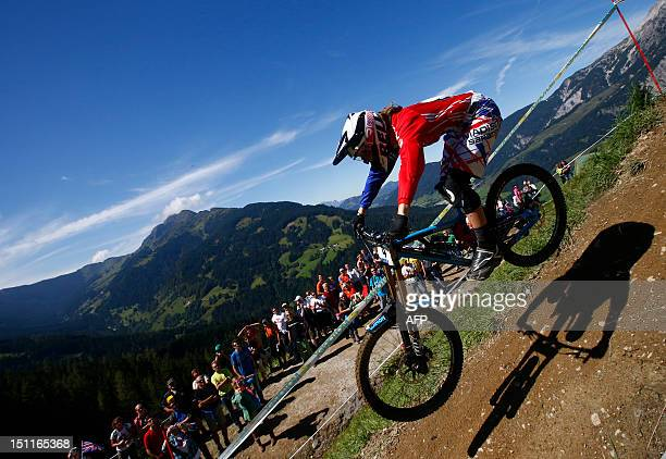 Great Britain's Manon Carpenter competes during the men's elite downhill world championship race as part of the 2012 UCI Mountain Bike and Trials...
