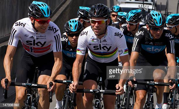 Great Britain's Mark Cavendish rides with teammates in a training session for Great Britain's Sky cycling team on June 28 2012 in Verviers near Liege...