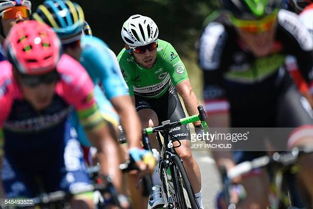 Great Britain's Mark Cavendish wearing the best sprinter's green jersey rides in a breakaway during the 1625 km seventh stage of the 103rd edition of...