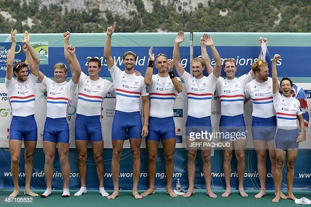 Great Britain's Matthew Gotrel Constantine Louloudis Pete Reed Paul Bennett Mohamed Sbihi Alex Gregory George Nash William Satch and Phelan Hill...