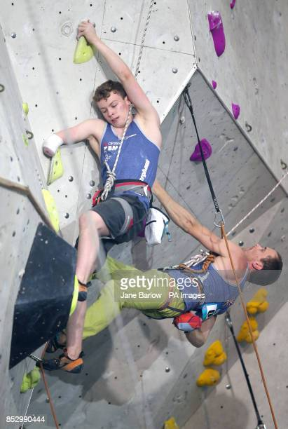 Great Britain's Matthew Phillips in the final of the Mens AU2 climb and Great Britain's Michael Cleverdon in the final of the Mens RP3 climb during...