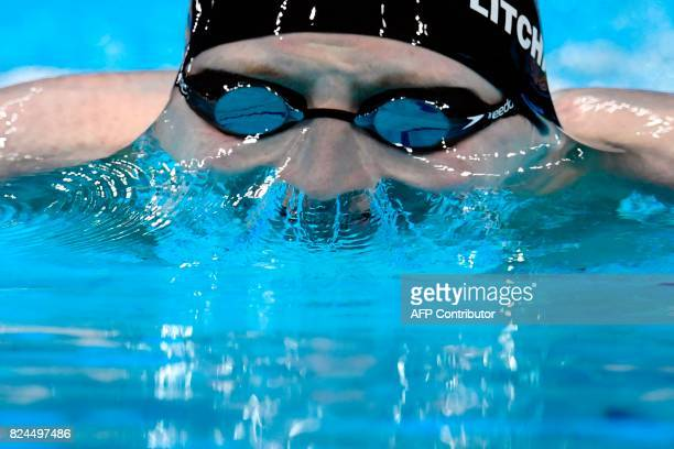 TOPSHOT Great Britain's Max Litchfield competes in the final of the men's 400m individual medley during the swimming competition at the 2017 FINA...