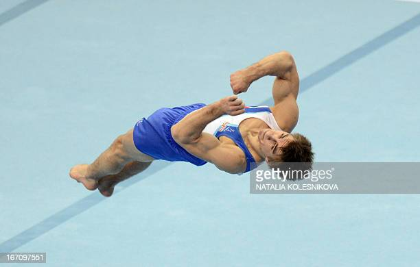 Great Britain's Max Whitlock competes on the floor in the men's apparatus artistic gymnastics finals during the 5th European Men's and Women's...