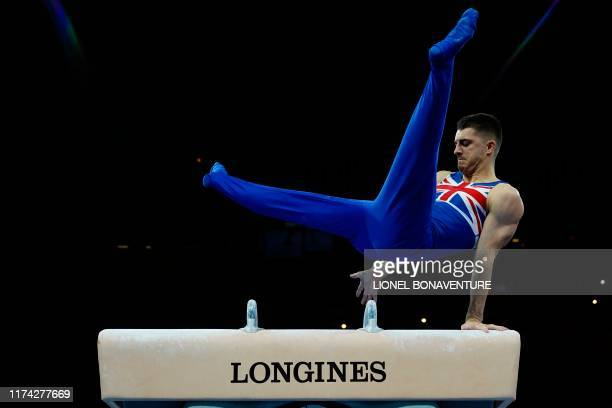 Great Britain's Max Whitlock performs on the pommel horse during the men's qualifying session at the FIG Artistic Gymnastics World Championships at...