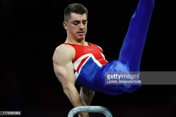 Great Britain's Max Whitlock performs on the pommel horse during the apparatus finals at the FIG Artistic Gymnastics World Championships at the...