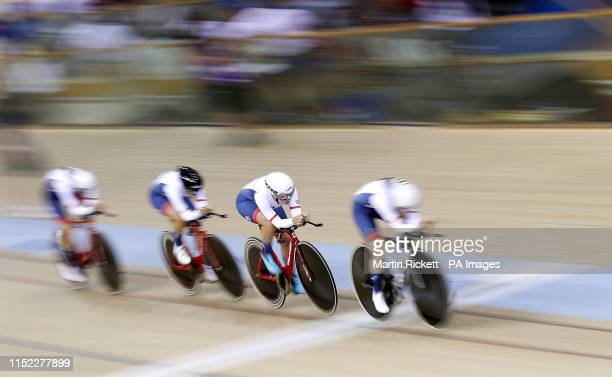 Great Britain's Megan Barker Jenny Holl Jessica Roberts and Josie Knight on their way to finishing 2nd in the Women's Team Pursuit qualifyication...