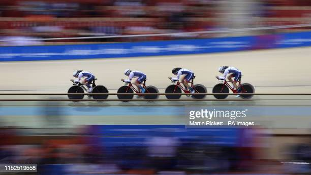 Great Britain's Megan Barker Jenny Holl Jessica Roberts and Josie Knight on their way to taking the silver medal in the Women's Team Pursuit at the...