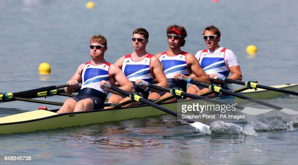 Great Britain's men's quadruple scull of Matt Wells Tom Solesbury Charles Cousins and Stephen Rowbotham during the training session at Eton Dorney...