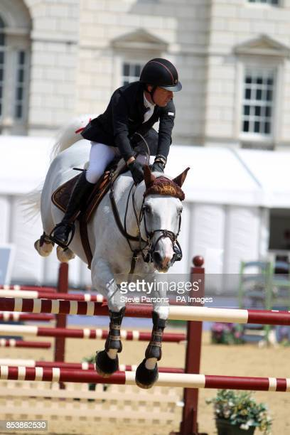 Great Britain's Michael Whitaker riding Elie van de Kolmen wins the Massimo Dutti Prix during day three of the 2014 Longines Global Champions Tour at...