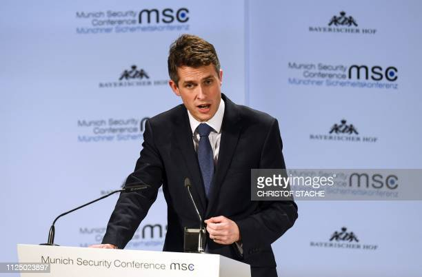 Great Britain's Minister for Defence Gavin Williamson speaks at the start of the 55th Munich Security Conference in Munich southern Germany on...