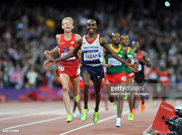Great Britain's Mo Farah celebrates winning the Men's 10000m final at the Olympic Stadium London on the eighth day of the London 2012 Olympics