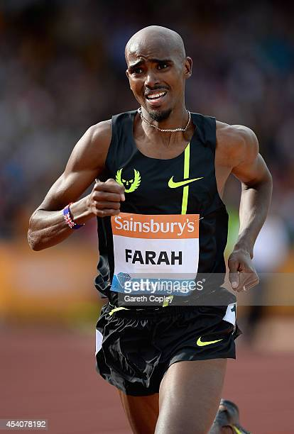 Great Britain's Mo Farah runs his way to winning the Mens 2 mile during the Sainsbury's Birmingham Grand Prix at Alexander Stadium on August 24 2014...