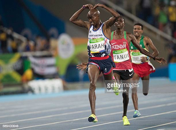 Great Britain's Mohamed Farah reactors after winning the men's 10000m at the Olympic Stadium 2016 Rio de Janeiro Brazil during the 2016 Olympic...