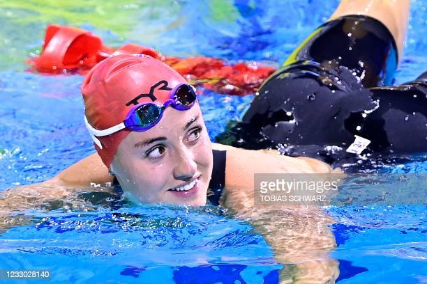 Great Britain's Molly Renshaw reacts after winning the final of the Womens 200m Breaststroke Swimming event during the LEN European Aquatics...