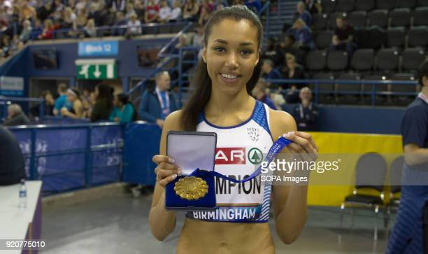 Great Britain's Morgan Lake poses with her medal after she won in the High Jump at the British National Indoor Championships in Birmingham