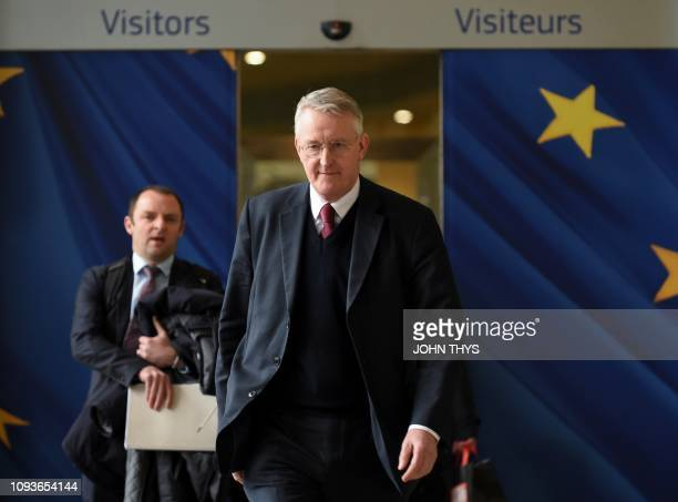 Great Britain's MP Hilary Benn leaves after a meeting with the Secretary General of the European Commission and Britain's Ambassador to the European...