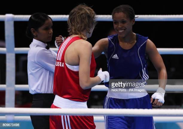 Great Britain's Natasha Jonas celebrates her win over Russia's Anastasia Belyakova in the Women Light semi final during the Boxing International...