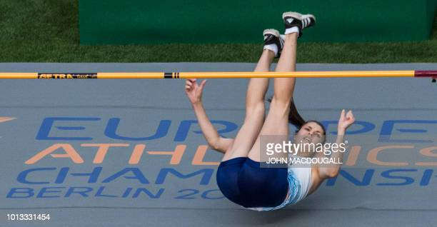 Great Britain's Nikki Manson clears the bar in the women's High Jump event during the European Athletics Championships at the Olympic stadium in...