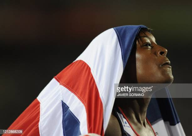 Great Britain's Perri ShakesDrayton celebrates after winning third place in the women's 400m hurdles final at the 2010 European Athletics...
