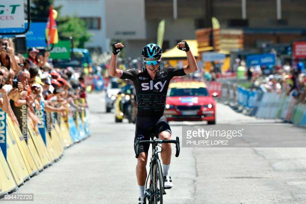 Great Britain's Peter Kennaugh celebrates as he crosses the finish line at the end of the 168 km seventh stage of the 69th edition of the Criterium...