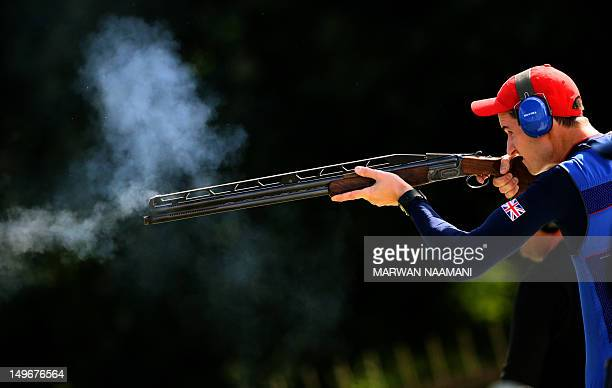 Great Britain's Peter Robert Russell Wilson competes in the men's double trap qualification at the London 2012 Olympic Games at the Royal Artillery...