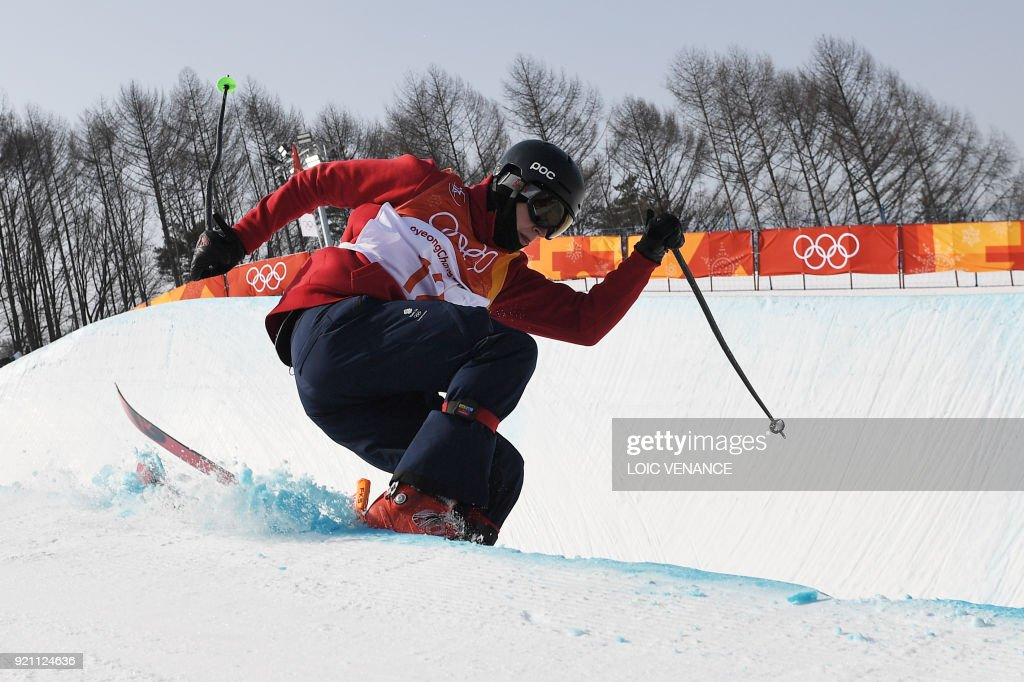 TOPSHOT - Great Britain's Peter Speight competes in the men's ski halfpipe qualification event during the Pyeongchang 2018 Winter Olympic Games at the Phoenix Park in Pyeongchang on February 20, 2018. /