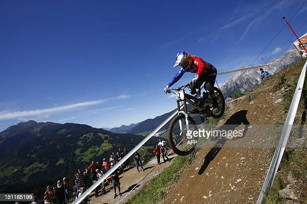 Great Britain's Rachel Atherton competes during the men's elite downhill world championship race as part of the 2012 UCI Mountain Bike and Trials...
