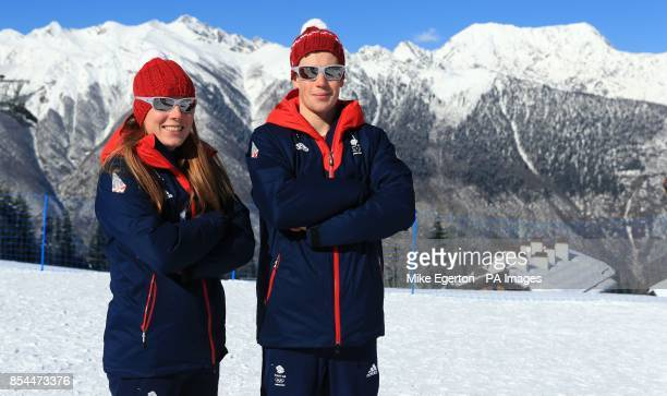 Great Britain's Rosamund OgravePosyOacute Musgrave and Andrew Musgrave at the Laura Biathlon and Ski Centre during the 2014 Sochi Olympic Games in...